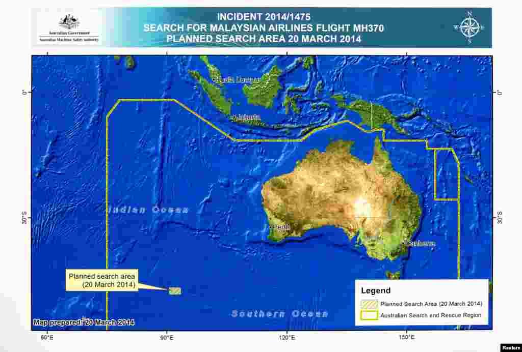 نمودار منطقه تحت تجسس در آبهای جنوب اقیانوس هند - ۲۰ مارس ۲۰۱۴