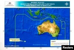 澳大利亞當局3月20日展示搜尋馬航370海域的的示意圖