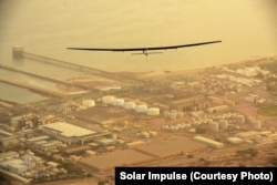 Solar Impulse 2 in flight over Oman on its way to Ahmedabad, India, March 10, 2015.