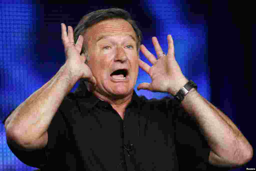 "Robin Williams gestures during a panel discussion for his HBO show ""Robin Williams: Weapons of Self-Destruction"" at the Television Critics Association Cable summer press tour in Pasadena, California, July 30, 2009."