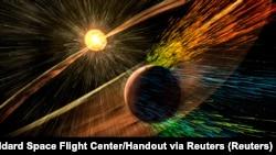 Umetnički prikaz solarne oluje koja je pogodila Mars (Foto: REUTERS/NASA/Goddard Space Flight Center/Handout)