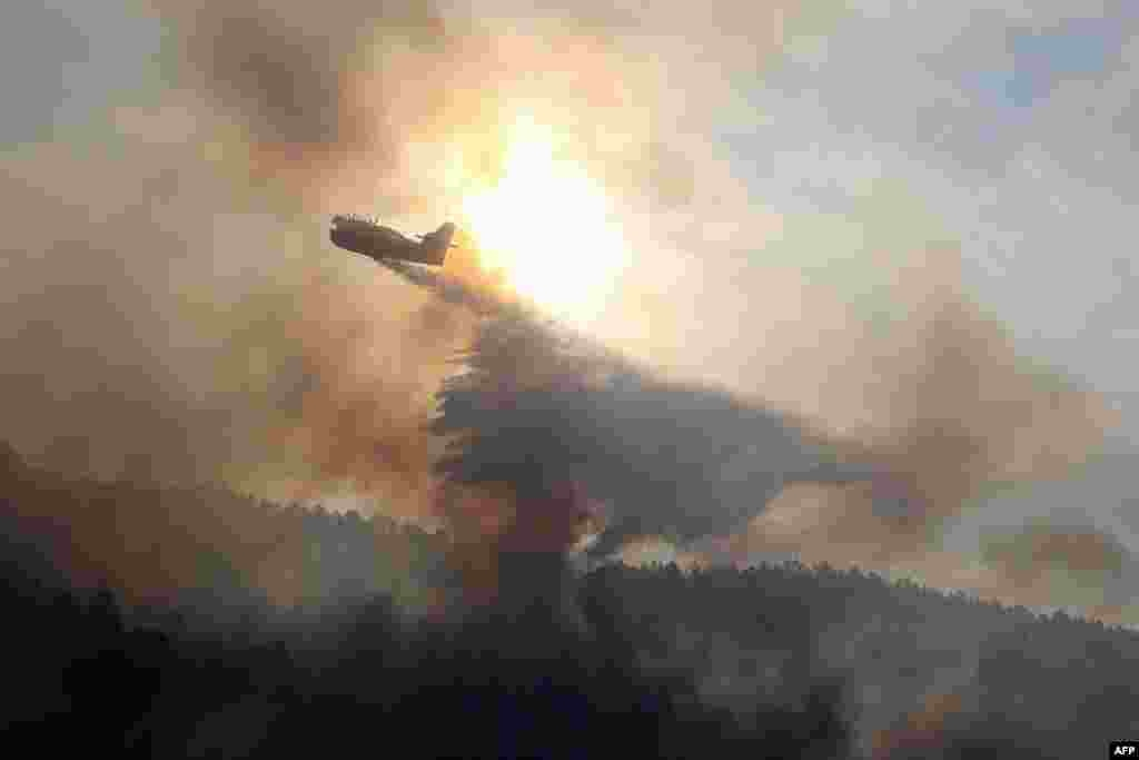 A canadair bomber plane drops water onto a blaze along the l'Arone Pass in the Bavella mountains (Bavella Needles) in Quenza on the French Mediterranean Island of Corsica, after strong winds from storm Ciara caused wildfires to spread on the island.