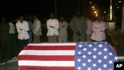 Flag-draped coffin of U.S. diplomat John Granville who worked for the U.S. Agency for International Development. (File)