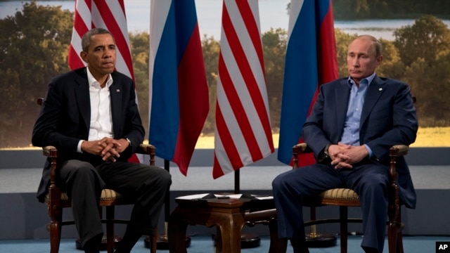 President Barack Obama meets with Russian President Vladimir Putin in Enniskillen, Northern Ireland, June 17, 2013.