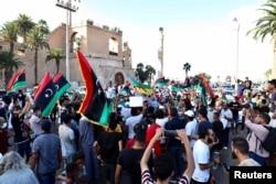 Waandamanaji wakusanyika kupinga serikali Tripoli, Libya, August 25, 2020. REUTERS/Hazem Ahmed NO RESALES. NO ARCHIVES