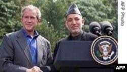 حمايت پرزيدنت بوش از استراتژی حامد کرزی رئيس جمهوری افغانستان