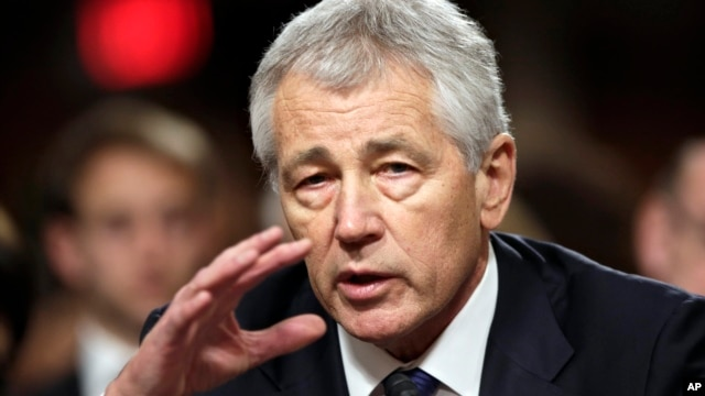 Republican Chuck Hagel, President Obama's choice for defense secretary, testifies before the Senate Armed Services Committee during his confirmation hearing, on Capitol Hill, Jan. 31, 2013.