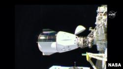 龍飛船美東時間2020年11月16日晚上抵達國際空間站(NASA TV)