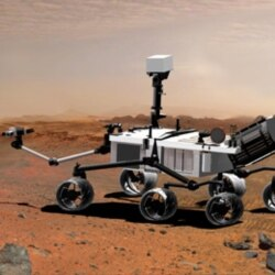 An artist's drawing shows what the Mars rover Curiosity may look like on Mars