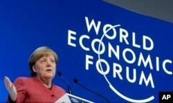 German Chancellor Angela Merkel addresses the annual meeting of the World Economic Forum in Davos, Switzerland, Jan. 23, 2019.