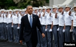 President Barack Obama arrives for a commencement ceremony at the United States Military Academy at West Point, New York, May 28, 2014.