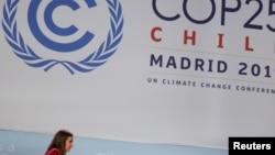 本輪會議主席、智利環境部長卡羅琳娜施密特星期天(12月15日)在聯合國變化大會。