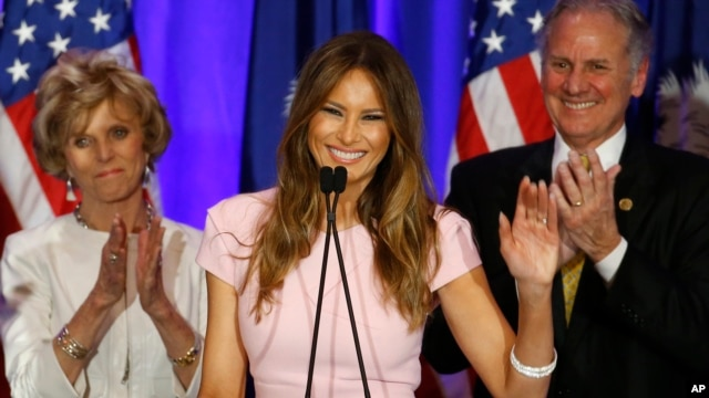 Melania Trump, wife of Republican presidential candidate Donald Trump speaks during a South Carolina Republican primary event in Spartanburg, South Carolina, Feb. 20, 2016.
