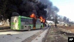 Se atribuye la quema de autobuses a los grupos terroristas, Frente de la Conquista de Levante y Libres de Sham.