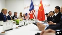 2019年6月29日特朗普與中國國家主席習近平在大阪舉行的G20峰會期間舉行雙邊會談。