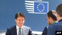 Le Premier ministre italien, Giuseppe Conte, au sommet européen sur l'immigration à l'édifice Europa, à Bruxelles, le 28 juin 2018