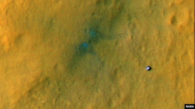 Picture of rover track marks on Mars