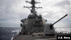 美軍太平洋艦隊公佈的巴里號驅逐艦2020年10月14日穿越台灣海峽的照片