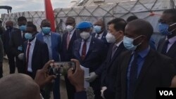 Vice President Constantino Chiwenga, some state officials and Chinese representatives receiving the Sinopharm COVID-19 vaccines donated by China.