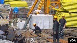 러시아 블라디보스토크 건설 현장의 북한 노동자들 (자료사진).