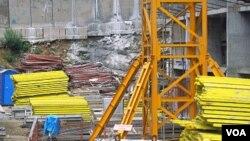 러시아 블라디보스토크 건설 현장의 북한 근로자들 (자료사진).