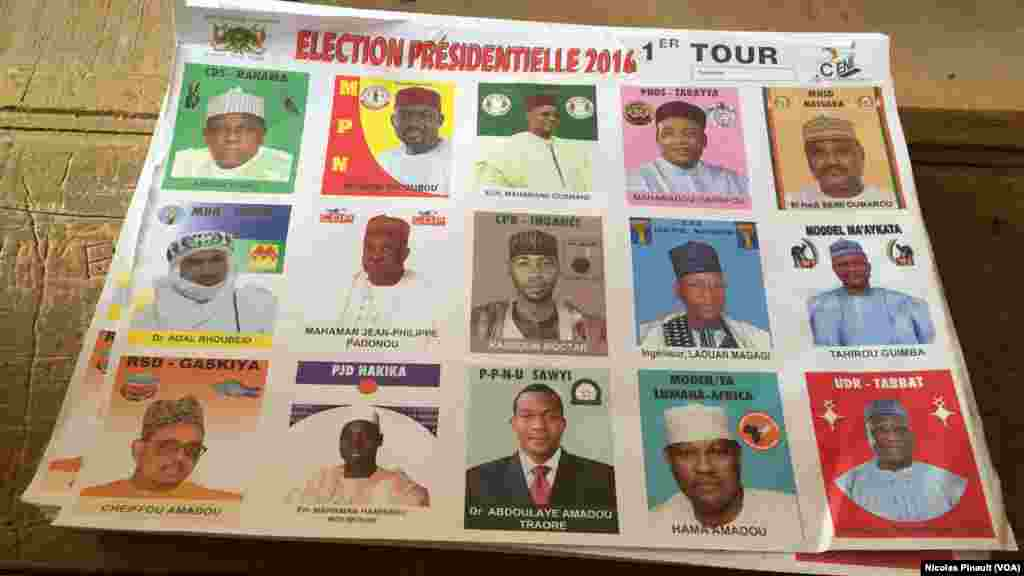 Photos of candidates are included in ballot materials for elections in Niamey, Niger, Feb 21, 2016.