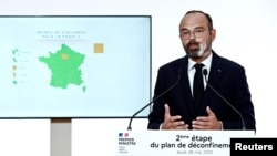 French Prime Minister Edouard Philippe speaks during a televised address Paris, France May 28, 2020.