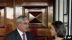 Under Secretary of State for Democracy and Global Affairs Maria Otero looks on after meeting Guatemala's President-elect Otto Perez Molina in Guatemala City, Wednesday Nov. 30, 2011.
