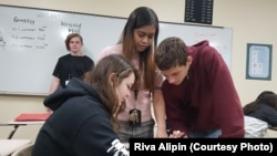 Filipino teacher, Riva Alipin, teaching math at Aztec High School, New Mexico. She is one of eight new teachers working in the Aztec School District this year.