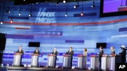 Presidential hopefuls during the Republican debate in Ames, Iowa Aug 11, 2011