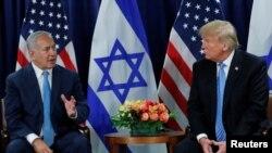 Benjamin Netanyahu(Ç) û Donald Trump (R)