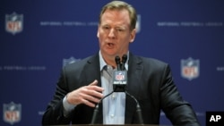 FILE - NFL Commissioner Roger Goodell talks during a press conference.