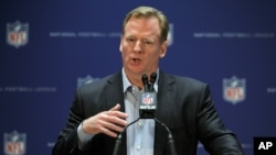 FILE - NFL Commissioner Roger Goodell during a press conference.
