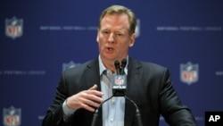 FILE - NFL Commissioner Roger Goodell during a press conference.