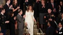 Le Première dame des Etats-Unis, Melania Trump, arrive au Congrès pour le discours de Donald Trump à Washington, le 30 janvier 2018.