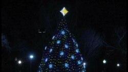 奥巴马全家点燃国家圣诞树