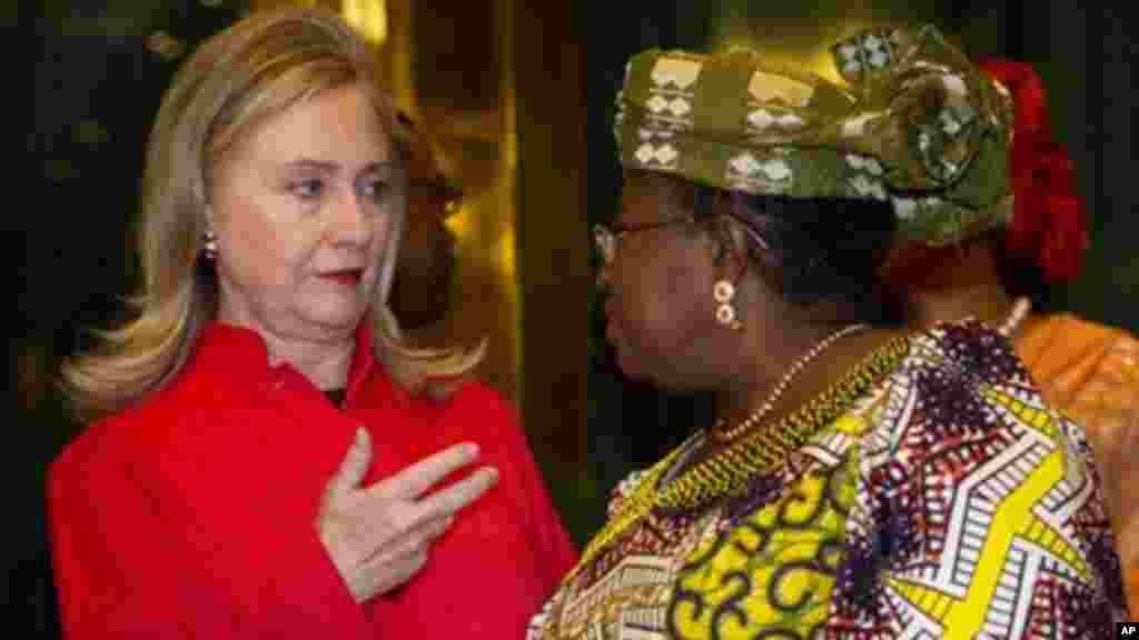 Secretary of State Hillary Rodham Clinton talks with Nigerian Finance Minister Ngozi Okonjo-Iweala, Aug. 9, 2012.