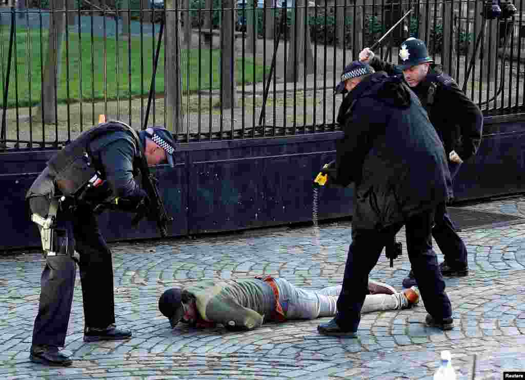 Armed police taser a man inside the grounds of the Houses of Parliament in London.