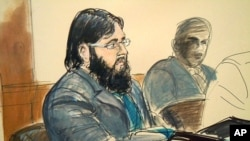 In this courtroom sketch, terror trial suspect Adis Medunjanin, accused in a foiled plot to attack New York City subways, sits in federal court in Brooklyn, New York, April, 18, 2012.