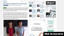 Báo chí Việt Nam đưa tin vụ một học sinh lớp 9 bị bạn đánh chết sau khi tan học.