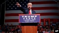 Mgombea urais m-Republican, Donald Trump katika kampeni huko Maine, Marekani.