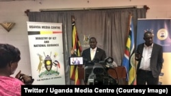 Simon Lokodo, ministre ougandais de l'Ethique, annonce l'interdiction du Nyege Nyege, l'un des plus importants festivals de musique électronique d'Afrique de l'Est, à Kampala, Ouganda, le 4 septembre 2018. (Twitter/Uganda Media Centre)