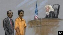 Boceto de la audiencia en la que el acusado Robel Phillipos comparece ante una corte federal en Boston.