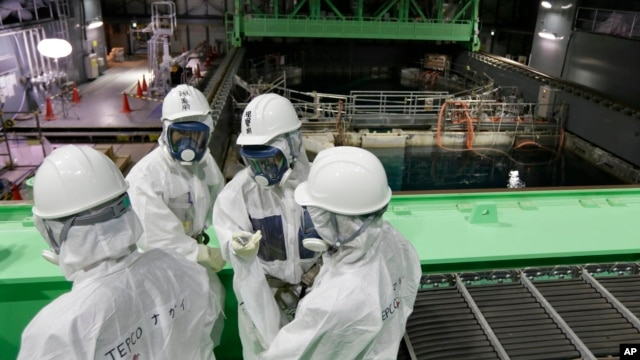 FILE-Tokyo Electric Power Co. (TEPCO) employees and journalists wearing protective suits and masks look at the spent fuel pool inside the building housing the Unit 4 reactor at the Fukushima Dai-ichi nuclear power plant in Okuma town, Fukushima.