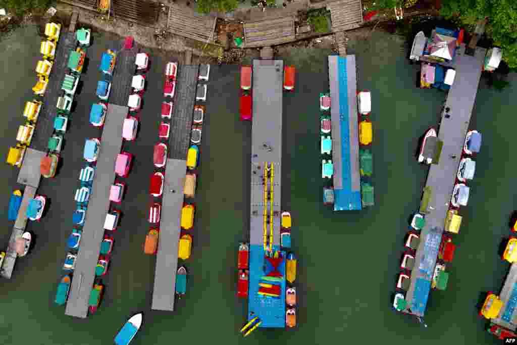 An aerial view shows leisure boats moored at Liyu Lake in Hualien, Taiwan.