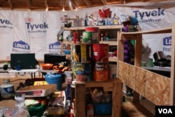 Canned foods, coffee, and blankets are among the items being donated and purchased with donated funds in the Oceti Sakowin camp as protesters hunker down for winter (Photo: E. Sarai/VOA)