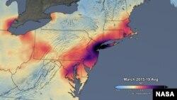 NASA tashkiloti tomonidan taqdim etilgan ushbu suratda AQShning ba'zi shtatlarida 2015-2019-yillarda havodagi azot dioksidi hajmi ko'rsatilgan.