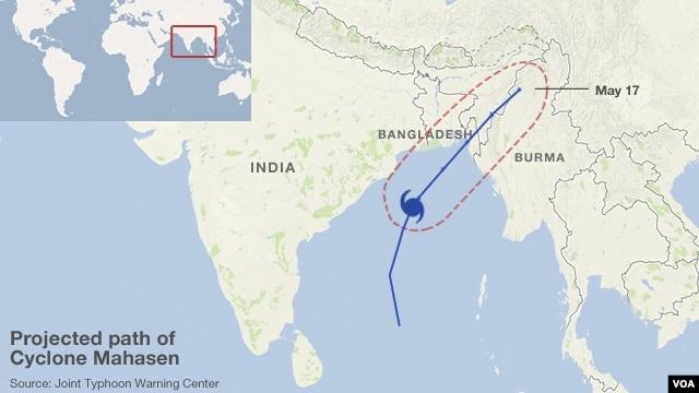 Trajectory path of Cyclone Mahasen