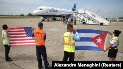 Atterrissage du premier vol commercial entre les USA et Cuba le 31 août 2016.