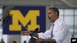 U.S. President Barack Obama delivers remarks on college affordability at the University of Michigan in Ann Arbor, Michigan, January 27, 2012.